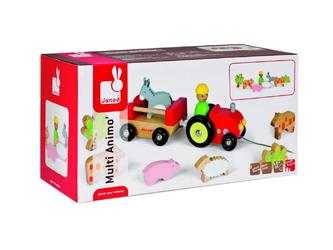 Каталка Трактор с животными Janod