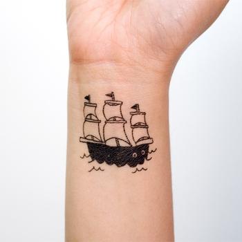 """Переводная татуировка """"Кораблик"""" Тату наклейки"""