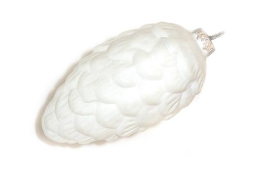 Елочная игрушка Шишка белая