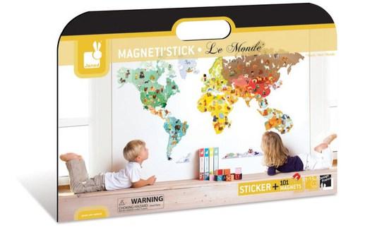 """Магнитный стикер """"Карта мира"""" Janod"""